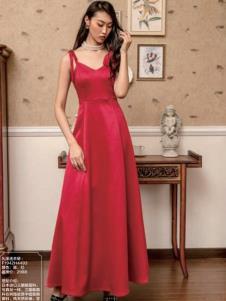 电影时装红色吊带裙