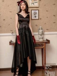 电影时装黑色无袖裙