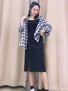 优主义黑色连衣裙