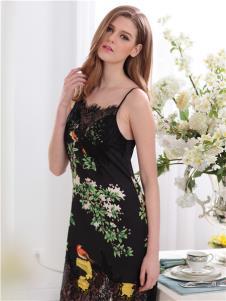 杜妮芬内衣新品黑色印花时尚睡衣
