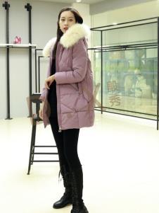 殿秀2019冬季羽绒服上新紫色
