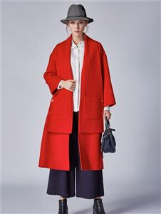 墨曲2019冬季新款红色大衣