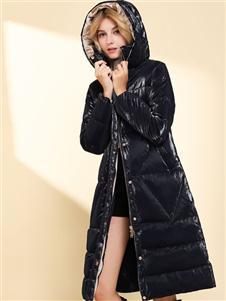 彩知丽CZHLE黑色长款羽绒服