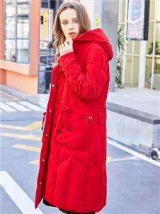 金蝶茜妮秋冬新款红色羽绒服