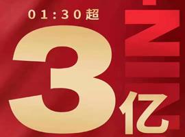 双十一开场1小时30分 李宁天猫旗舰店销售额破3亿