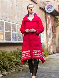 逸之秋2019冬装新款红色羽绒服
