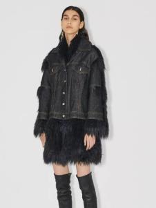 玛丝菲尔冬季新款黑色牛仔衣