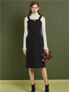 费依黑色连衣裙
