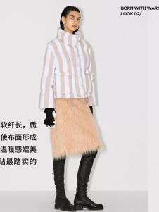 玛丝菲尔冬季新款条纹羽绒服