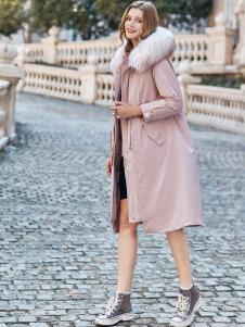 雨珊女裝新款粉色羽絨服