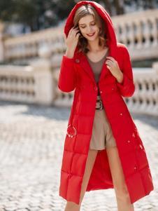 雨珊女裝新款紅色修身羽絨服
