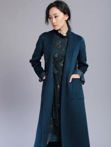 千桐女裝冬季新款靛藍風衣