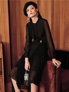 魅之女新款黑色气质连衣裙