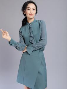 千桐女裝冬季新款藍色連衣裙