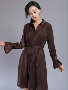 千桐女装冬季新款咖色连衣裙