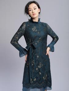 千桐女裝冬季新款蕾絲連衣裙