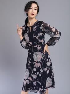 千桐女装冬季新款雪纺连衣裙