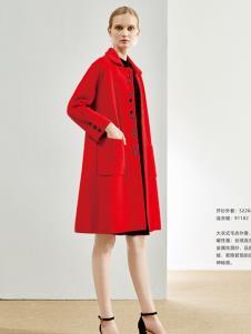 丽芮新款女装红色风衣