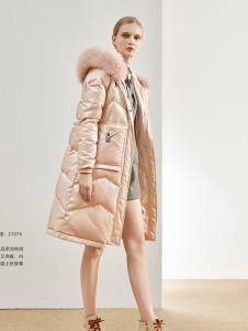 丽芮新款女装粉色羽绒服