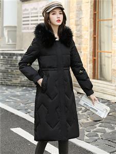 芊伊朵新款黑色气质羽绒服