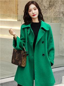 芊伊朵新款绿色气质大衣