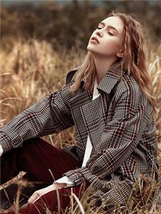 丽迪莎新款时尚格子外套