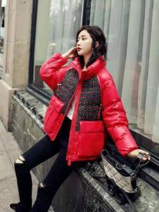 碧成萱女装冬新款红色羽绒服