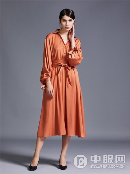 艾米女装橘色连衣裙