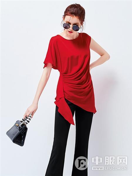 艾米女装红色上衣