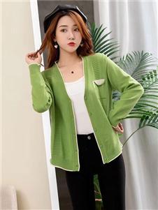 欧蕾芭绿色针织衫