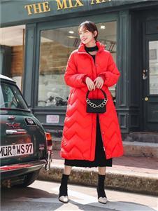 欧蕾芭红色长款外套