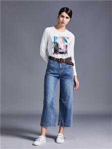 艾米女装阔腿牛仔裤