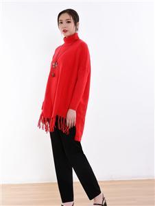 忆花寻红色毛衣