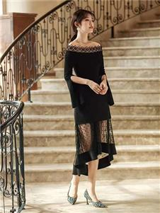 M+女裝黑色蕾絲連衣裙