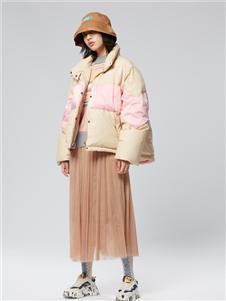 木果果木女装2019新款撞色羽绒服