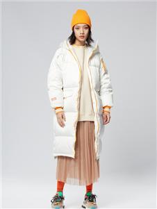 木果果木女装2019新款白色长款羽绒服