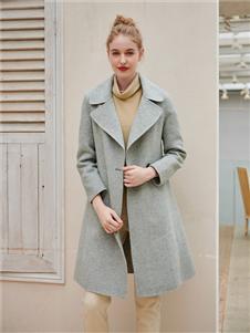 雁腾逸女装灰色大衣