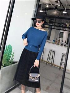 搜谷女装搜谷女装蓝色针织衫