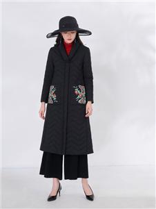 千唐绣女装千唐绣女装黑色绣花棉衣