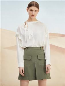 沙与沫绿色短裙