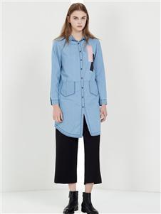 阿莱贝琳女装蓝色衬衫 款号368156