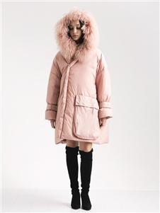 阿莱贝琳女装粉色羽绒衣 款号368161