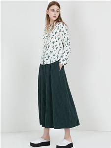 阿莱贝琳女装绿色长裙 款号368162