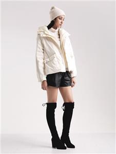 阿莱贝琳女装白色羽绒衣 款号368165