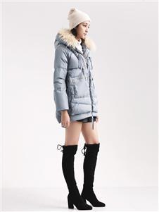 阿莱贝琳女装蓝色羽绒衣 款号368166