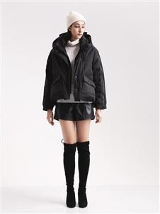 阿莱贝琳女装黑色棉衣 款号368167