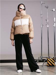 阿莱贝琳女装咖色羽绒衣 款号368168