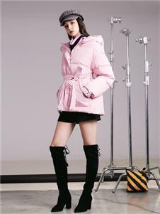 阿莱贝琳女装粉色棉衣 款号368169