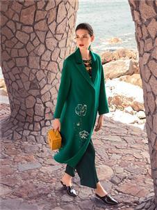 秀蓓儿女装秀蓓儿秋冬新款绿色呢子大衣