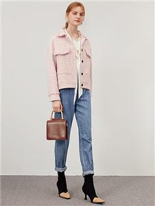 詩凡黎女裝秋冬新款粉色外套